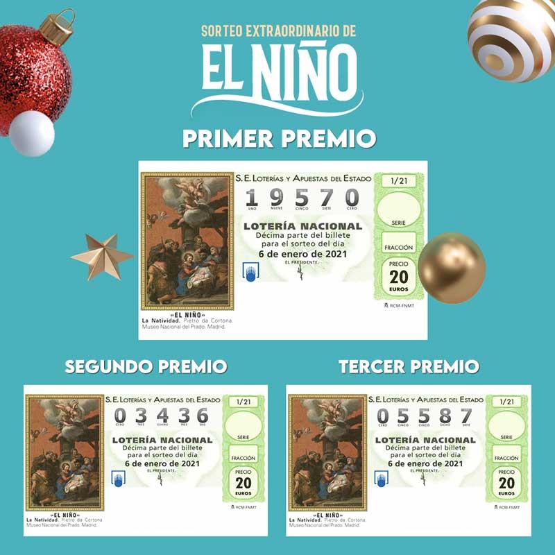Décimos premiados Lotería del Niño 2021